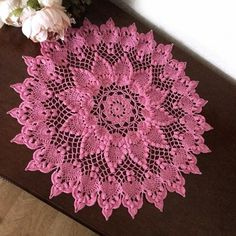 Pink lace doily, Decorative crochet tablecloth with heart pattern, Perfect gift for mom and wife with pink crochet, Valentines day decor Mandala Au Crochet, Crochet Doily Rug, Crochet Doily Patterns, Crochet Tablecloth, Thread Crochet, Crochet Flowers, Pink Tablecloth, Crochet Table Topper, Beau Crochet