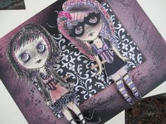 Original 3D Big Eyed Gothic Paper Doll Mixed Media Pop Art - You Didn't Just Say That
