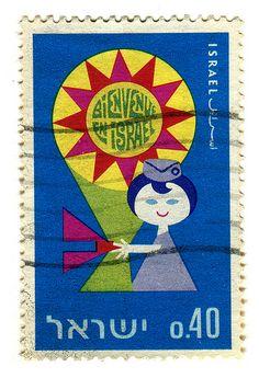 Israel Postage Stamp: Bienvenue en Israel