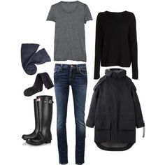 simple black/spring/outfit for rainy day