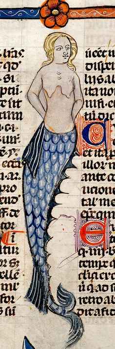 Mermaid, immortalized in this French book of illuminations. They have been around forever! Medieval Life, Medieval Art, Medieval Manuscript, Illuminated Manuscript, Art And Illustration, Mermaids And Mermen, Book Of Hours, British Library, Merfolk