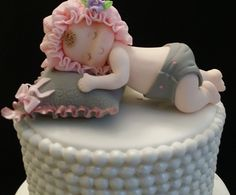 Beautiful Baby Girl or Baby Boy sleeping over a pillow Cake Topper, This babies can be use Cake Decorations and Centerpieces Great for Baby Shower, Baptism or Christening Cake Decoration Each Baby App