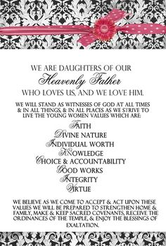 "Young Womens Moto ~ LDS Word Art Free Printable _ I'm not a ""young"" woman anymore but I'd love this framed in my craft room!"