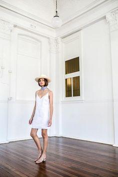 Yves Lace Up Slip White