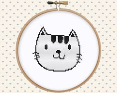 White cat cross stitch pattern pdf  instant by GentleFeather