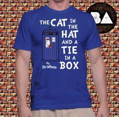 The Cat in the Hat and a Tie in a Box - Mens t-shirt for geek fans of Doctor Seuss, Parody and Doctor Who... funny! By Brother Adam on Etsy, kr121,59