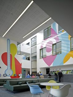 Wall graphics at Kentish Town Health Centre, UK by Architect AHMM (Allford Hall Monaghan Morris)