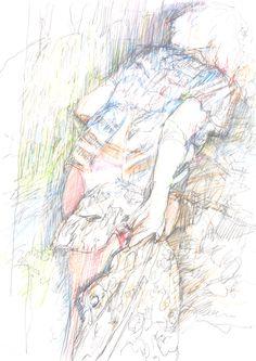 Guido Michl, Waldgeister, Graphit / Buntstift auf Papier, 29,7 x 21 cm, 2009, 250 €