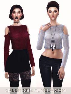 Cold Shoulders Crop Jumper at Salem2342 via Sims 4 Updates