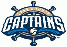 Lake County Captains Primary Logo (2011) - Lake County Captains in white inside a ship's wheel with a baseball and two splashes