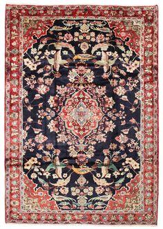 A Hamadan Pictorial (Persian/Iran). Hand knotted, 12 mm, 228 x 327 cm, Wool pile/Cotton warp. Old.160K knots/m2. CarpetVista/VAZK54