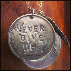 Never give up. #alisamichelle #necklace (Calling 818-463-2949 to order.)