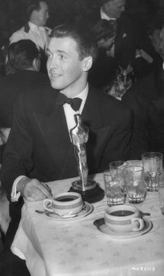 "James Stewart with his Oscar for Best Actor in ""The Philadelphia Story"""