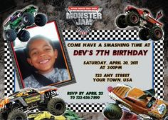 Monster Jam Birthday Party Invitation Digital File Printable
