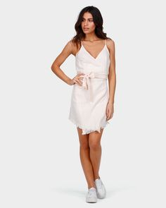 BILLABONG WOMEN'S FIELD DAY DRESS The Field Day dress is a wrap front style with internal tie, large self fabric belt tie, adjustable shoestring straps ...
