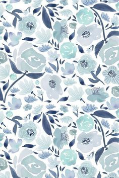 Blue rose watercolour florals blue - watercolor by laurawrightstudio - Hand painted blue and teal watercolor flowers on fabric, wallpaper, and gift wrap. Painterly watercolor flowers with a white background. Floral Watercolor Background, Watercolor Rose, Flower Wallpaper, Wall Wallpaper, Wallpaper Backgrounds, Fabric Wallpaper, Blue Floral Wallpaper, Watercolor Pattern