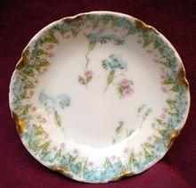 Antique Haviland Limoges Butter Pat Schleiger 436 Pink Roses & Blue Carnations