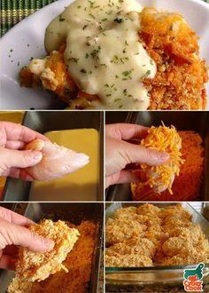 Frango crocante empanado com queijo para o almoço! - Aprenda a preparar essa maravilhosa receita de Frango de Forno Crocante