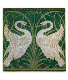 7a9cf87a1d41 Walter Crane, Swans, wall paper design, 1875, Gouache and watercolour, 53