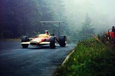 1968 German GP, Nurburgring : Graham Hill, Lotus-Ford 49B, Gold Leaf Team Lotus, 2nd (ph: © Sutton)