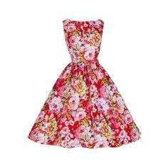 Lindy Bop Red & Pink Flower Garden Print Dress