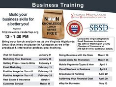 Great business training opportunities starting in 2015. Washington County, Virginia Noon Knowledge Lunch Series by Sandy Ratliff via slideshare