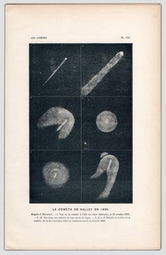 This is a wonderful black and white French print from 1875. It depicts Halleys Comet from 1835.    Halleys Comet has been observed and recorded