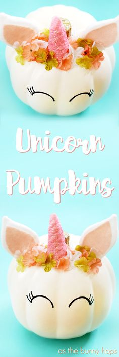 You'll have the most magical Halloween decorations around when you make your own unicorn pumpkins!