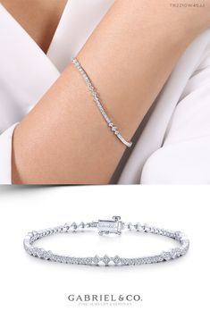 Graceful diamonds adorn this white gold tennis bracelet in square and diamond accents, providing an essential addition to your collection and wardrobe. Mens Gold Bracelets, Gold Bracelet For Women, Dainty Bracelets, Fashion Bracelets, Prom Jewelry, Wedding Jewelry, Jewellery, Bracelet Designs, Jewelry Accessories