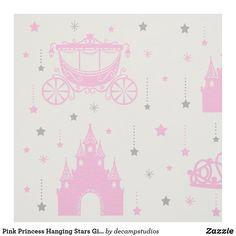 Pink Princess Hanging Stars Girl Fabric