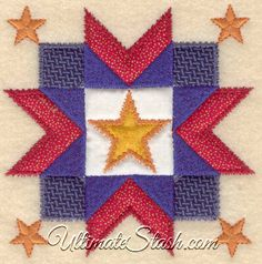 USA 5 Star American Embellishment Quilting Square Machine Embroidery Design