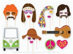 Hippie fiesta foto Booth Props, apoyos de Photobooth de 1960, cabina de la foto de boda, fiesta de cumpleaños, Woodstock, niño flor, Van Hippie de paz, amor