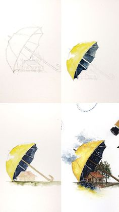 Illustration art sketches ideas 62 ideas for 2019 Watercolor Artwork, Watercolor Illustration, Watercolour Drawings, Watercolor Painting Tutorials, Night Illustration, Watercolor Artists, Drawing Sketches, Art Drawings, Sketch Art