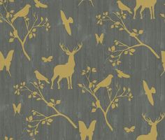 Neo (43870) - Albany Wallpapers - A wood paneling effect design in grey overlaid with lime green stencils of leaves, butterflies, birds and deer. Paste the wall, so easy to apply. Please ask for sample for true colour match.