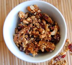 Homemade Sweet and Salty Paleo Granola - Paleo Grubs--- we add a little less coconut oil. We also add cinnamon which is so good. I love combining 1/4 c granola with a sliced banana and coconut milk as filling and sweet 220cal small meal.
