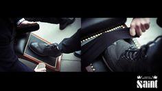 Saint Presents shoe shine at London Fashion Week.