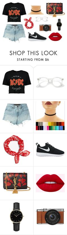 """concert outfit idea"" by trsca on Polyvore featuring Boohoo, T By Alexander Wang, rag & bone, NIKE, Yves Saint Laurent, ROSEFIELD and Fujifilm"