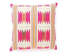 Fair Trade Pillow Cover, Bright Boho Pink and Yellow