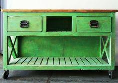 #Mueble de apoyo patinado en verde con ruedas medidas: 1.50 x 0.400 x 0.90 Outdoor Decor, Furniture, David, Home Decor, Google, Handmade Wood Furniture, Tv Unit Furniture, Craft Cabinet, Antique Wood