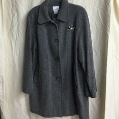 Gray East 5th Peacoat With Vintage Pin