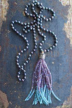 Freshwater pearl tassel necklace Purple Passion by slashKnots