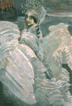 Russian Painter: Mikhail Vrubel (1856-1910) 'The Swan Princess' 1900, Oil on canvas