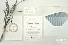 Invitaciones de boda para invierno, con colores en azul nórdico, caldera y muy blanco y reluciente toda la papelería