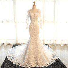 Sexy Backless Long Sleeve Lace Mermaid Wedding Bridal Dresses, Cheap Custom Made Wedding Bridal Dresses, WD272