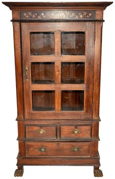Lanka Armoire   Vintage Carved Teak Armoire (60 Years Old) With Inlaid  Design,. Wood DesignGlass ...