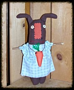 Primitive rabbits are popping up all over by Lucille Rox on Etsy