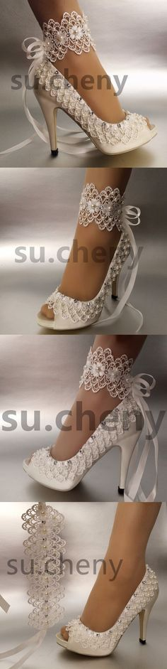Wedding Shoes And Bridal Shoes: 34 Heel Satin White Ivory Lace Ribbon Ankle Open Toe Wedding Shoes Size 5-9.5 BUY IT NOW ONLY: $59.99
