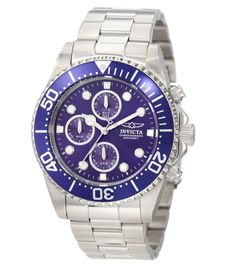 Invicta 1769 Men's Pro Diver Stainless Steel Blue Dial Chronograph Dive Watch,