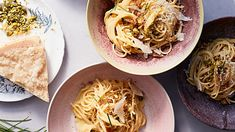 Like a vegetarian spaghetti carbonara! Meaty pistachios stand in for guanciale, cream amps up the usual eggs and cheese, homemade breadcrumbs add crunch, and a heap of lemon zest brightens up the whole dish.