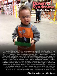 Brody; Peace, Love & Down Syndrome @Evelyn Spencer Down Syndrome Society